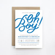 Baby Shower Invitation  Oh Boy  Hand Lettering by GennaCowsert
