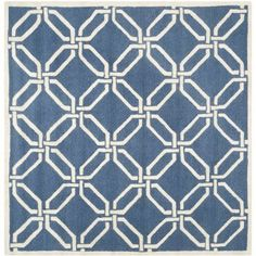 Square Area Rug in Ivory and Navy, Beige