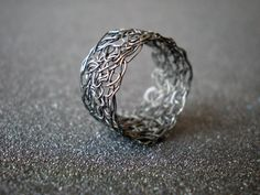 Crochet Sterling Silver Wire Ring
