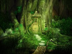 Forest Fairy Home art tree forest house painting illustration fairy