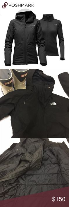 The North Face HighandDry Triclimate jacket/Coat Amazing and versatile Jacket by The North Face. Style is called HighAndDry Triclimate, black , size extra small, excellent like new condition. $260 retail, current style. Removable lining that can be worn as a light jacket, attached hood, lots of details including Hyvent, zipper close pockets and so much more. The North Face Jackets & Coats Utility Jackets