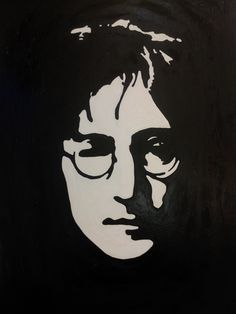 Black and white. 30 x By Celestino Art. Shadow Painting, Shadow Art, Black And White Face, Black And White Painting, Pop Art Portraits, Portrait Sketches, John Lennon, Person Outline, Rock Band Posters