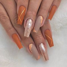 In seek out some nail designs and ideas for your nails? Here is our listing of must-try coffin acrylic nails for stylish women. Perfect Nails, Fabulous Nails, Gorgeous Nails, Fall Nail Art Designs, Acrylic Nail Designs, Orange Nail Designs, Cute Nails, Pretty Nails, Gel Nails