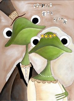 Print of my original folk art painting -  Happily Ever AFter - Frog Couple