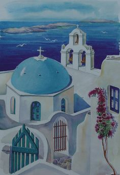 Santorini Greece Blue Church Painting by Helidon