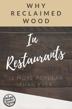 The use of reclaimed wood in restaurants is a design trend that'll definitely be around for quite a while. From fulfilling a commitment to sustainability. Rustic Restaurant, Restaurant Design, Design Trends, Restaurants, Popular, Antiques, Wood, Home Decor, Antiquities
