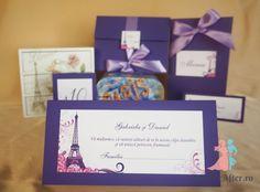 Plic de bani / place-card mov Tour Eiffel pentru nunti cu tema Paris | ForeverAfter.ro