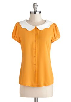 Backyard Betty Top in Sunshine By Myrtlewood| Mod Retro Vintage Short Sleeve Shirts | ModCloth.com