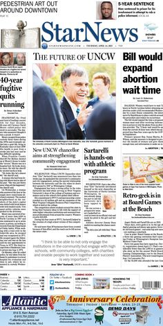 Front page for Thursday, April 23, 2015