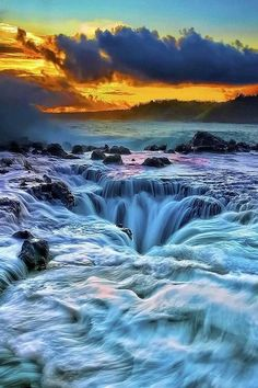 waterfalls and sunsets