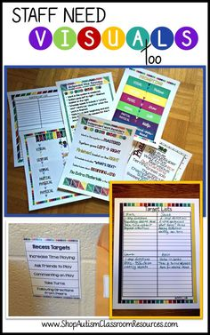 Great visuals for helping all special education (autism classroom) staff…