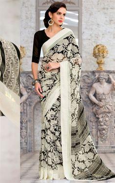 Picture of Splendorous Black and White Printed Saree
