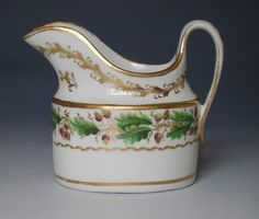 New Hall straight sided oval cream jug.  Painted with pattern 357. c.1800-5