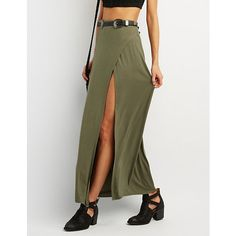 High Slit Wrapped Maxi Skirt