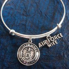 Air Force Wife Expandable Charm Bracelet Adjustable Bangle Gift USA Military Jewelry
