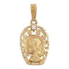 Medalla Oro 18 Kl Virgen Niña con circonitas 13 x 21 Mm. : Joyeria online   joyeria plata   joyeria de plata
