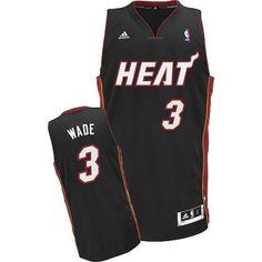 Dwyane Wade Swingman In Black Adidas NBA Miami Heat  3 Men s Road Jersey  Miami Heat cba6fa06c469