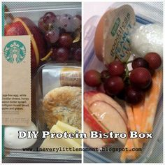 Recreate the Starbucks Protein box- you can even by the peanut butter they use online. I reduced the 350 calories to 171 by taking out the peanut butter, buying Trader Joe's whole wheat mini pitas and Trader Joe's light string cheese
