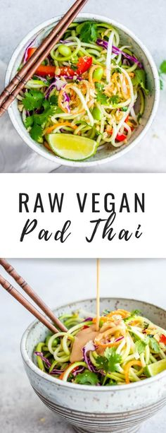 Raw Vegan Pad Thai // 311 cal, protein in recipe // add proteinYou can find Raw vegan and more on our website.Raw Vegan Pad Thai // 311 cal, protein in . Raw Vegan Dinners, Raw Vegan Recipes, Vegan Dinner Recipes, Vegan Foods, Whole Food Recipes, Vegetarian Recipes, Vegan Zoodle Recipes, Drink Recipes, Yummy Recipes