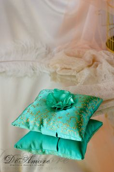Blush green/mint gold Wedding ring pillow от DiAmoreDS на Etsy