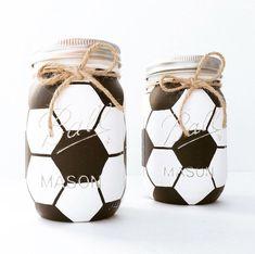 Soccer mason jar, soccer gift, birthday, sports nursery, soccer c Soccer Birthday Parties, Kids Birthday Gifts, Soccer Party, Sports Party, Soccer Ball, 24 Birthday, Soccer Snacks, Skate Party, Birthday Crafts