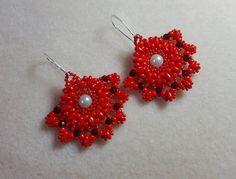 Red hand-held fan earrings, white pearls, Red royal earrings, Swarovski red Crystals, Feminine earrings, statement earrings, Valentine gift