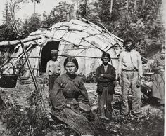 Ojibwe family in front of their home, MHS Photograph Collection ca. 1860
