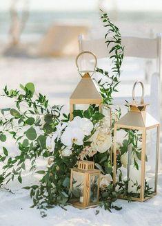 Gold lantern wedding aisle decoration ideas with greenery – wedding centerpieces Wedding Aisle Outdoor, Beach Wedding Aisles, Wedding Aisle Decorations, Wedding Table Centerpieces, Wedding Ceremony, Ceremony Signs, Beach Wedding Flowers, Wedding Arrangements, Wedding Entrance Table