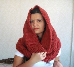 chunky cowl knit scarf red orange Infinity by AnatoliaDreams, $60.00