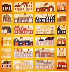 Pieced Quilt Houses & Barns 1810 Massachusatts...would love to see this in person...the stitching and the fabrics.  Fasinated by old quilts.