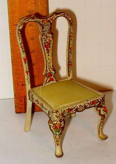 Dollhouse Miniature Natasha Beshenkovsky Hand Painted Satin Chair Signed 1981