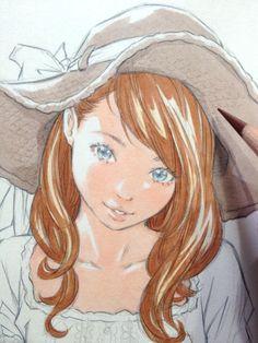 色鉛筆で帽子の描き込み by Eisakusaku