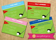 Printable Golf Party Invitation - Birthday Invite DIY - Golf Tee Flag Ball Club miniature child children invite mini golf green tournament