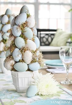Easy Easter Egg Topiary Trees