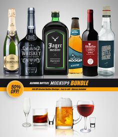 Alcohol Bottles Mockups [BUNDLE] by VectorMedia on @creativemarket