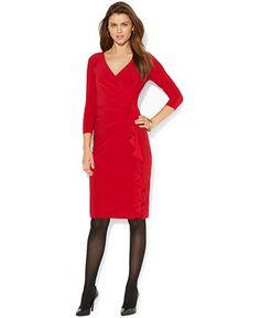 e3f2ac6c815 American Living Long Sleeve Ruffled Faux-Wrap Dress - Dresses - Women -  Macy s Surplice