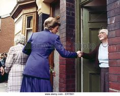 Princess Diana seen here shaking the hand of an elderly resident during her visit to South Bank. 7th December 1989 - Stock Image