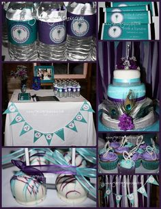 Peacock wedding decor, 3 tier glam cake, cupcakes, Oreo pops, water bottle labels, candy bar wrappers.