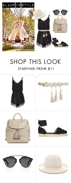 """""""Glamp in Style"""" by neeuqia ❤ liked on Polyvore featuring interior, interiors, interior design, home, home decor, interior decorating, Tory Burch, Castañer, Christian Dior and Forever 21"""