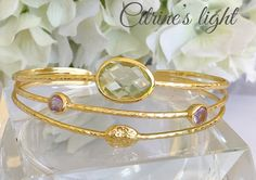 Bracelet femme  jonc or et citrine  , améthyste