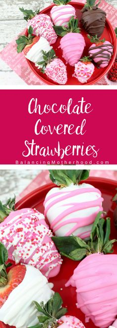 Easy to make chocolate covered strawberries with only a few ingredients. Make these with pink chocolate, dark chocolate, and white chocolate - and, of course, sprinkles! Chocolate covered strawberries couldn't be easier! Perfect for Valentine's Day. #valentinesidea