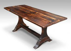 Rustic farmhouse trestle table with dark stain--I just got one of these and I can't wait to get it cleaned up and in the house. Yay!!!
