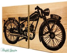 Vintage Motorcycle on Wood Panels  Custom Made Man by RightGrain