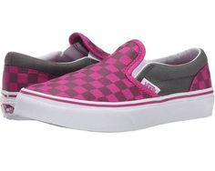 Vans Kids Classic Slip-On (Little Kid/Big Kid) Girls Shoes (Checkerboard) Pewter/Fuchsia Red : 6 Big Kid M