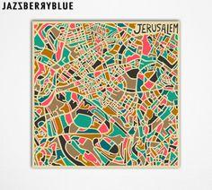 JERUSALEM Map, Giclee Fine Art Print, Modern Abstract Wall Art, Home Decor (13x13) by Artist Jazzberry Blue