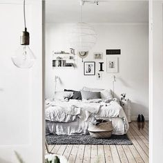 A beautiful bedroom in shades of black, white and grey