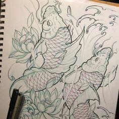 koi fish sketch .. #art #asian #asiantattoo #sketch #loveart #artwork #irezumicollective #irezumi #illustration  #chronicink #drawing #asianink  #koifish #koifishsketch