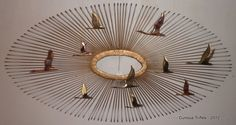 Mid Century - Gold & White Curtis Jere Sunburst with Geese - Wall Art