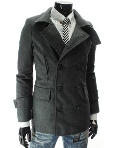High Neck Double Breasted Wool Coat