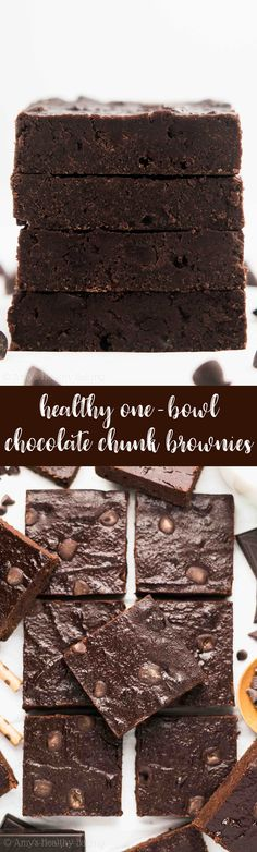 Healthy One-Bowl Chocolate Chunk Brownies! SO easy, SO rich only 76 calories! These clean eating brownies don't taste healthy at all! You'll never need another brownie recipe again! Clean Eating Brownies, Healthy Brownies, Homemade Brownies, Healthy Muffin Recipes, Healthy Dessert Recipes, Baking Recipes, Clean Recipes, Bar Recipes, Light Recipes